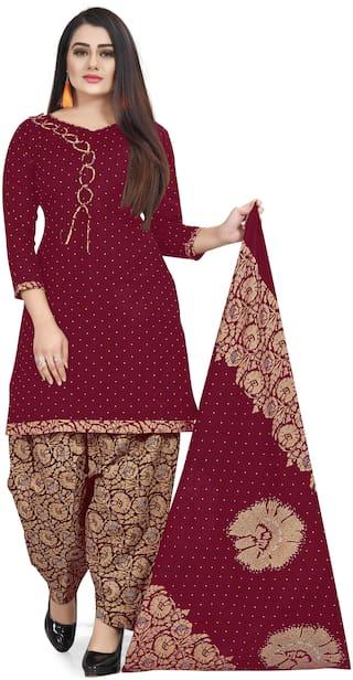 Rajnandini Maroon Unstitched Kurta with bottom & dupatta With dupatta Dress Material