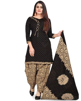 Rajnandini Black Unstitched Kurta with bottom & dupatta With dupatta Dress Material