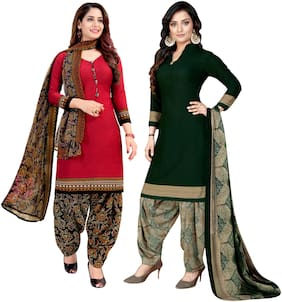 Rajnandini Women Crepe Printed Unstitched Dress Material- (Red;Dark Green)