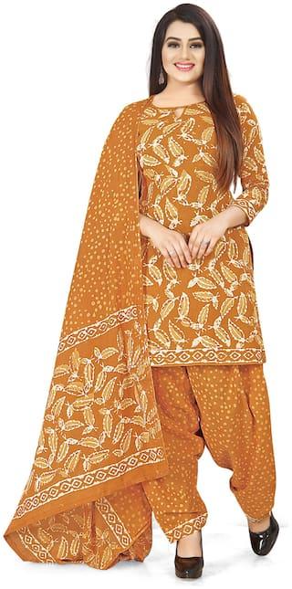Rajnandini Mustard Unstitched Kurta with bottom & dupatta With dupatta Dress Material