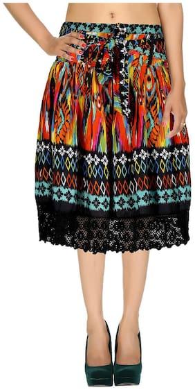 Rajrang Black Geometric Printed Voil Midi Casual Skirt