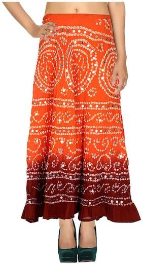 Rajrang Dark Orange & Maroon Ethnic Tie Dye Cotton Cambric Maxi Casual Skirt