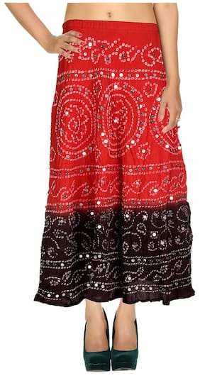 Rajrang Dark Red & Dark Brown Ethnic Tie Dye Cotton Cambric Maxi Casual Skirt
