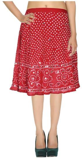 Rajrang Dark Red Ethnic Tie Dye Cotton Calf Casual Skirt