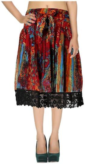 Rajrang Maroon Abstract Printed Georgette Midi Casual Skirt