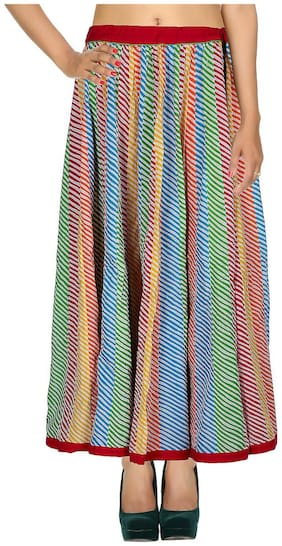 Rajrang Multi Color 04 Striped Patch Work Cotton Maxi Casual Skirt