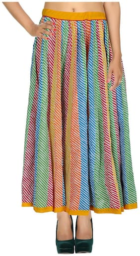 Rajrang Multi Color 03 Striped Patch Work Cotton Maxi Casual Skirt
