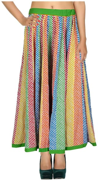 Rajrang Multi Color 01 Striped Patch Work Cotton Maxi Casual Skirt