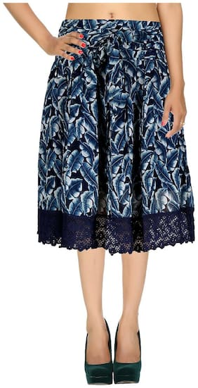 Rajrang Navy Blue Leaves Printed Georgette Midi Casual Skirt