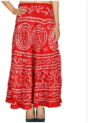 Rajrang Red Color Rajasthani Jaipuri Print Ankle Length Cotton Skirts for Girls & Women