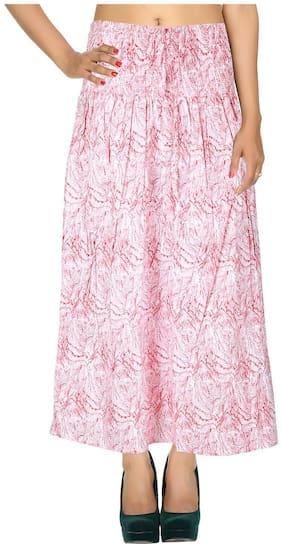 Rajrang Red Printed Printed Cotton Calf Casual Skirt