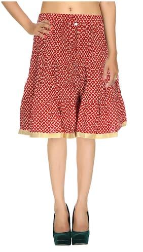 Rajrang Red Color Rajasthani Jaipuri Print Knee Length Cotton Skirts for Girls & Women