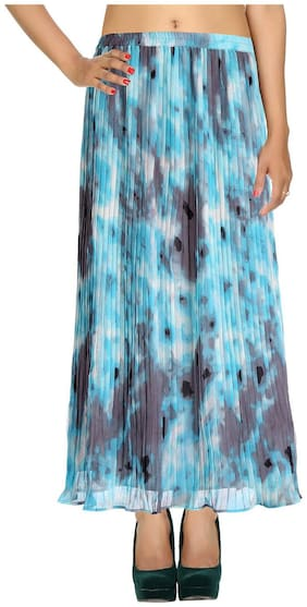 Rajrang Turquoise Abstract Tie Dye Faux Georgette Long Casual Skirt