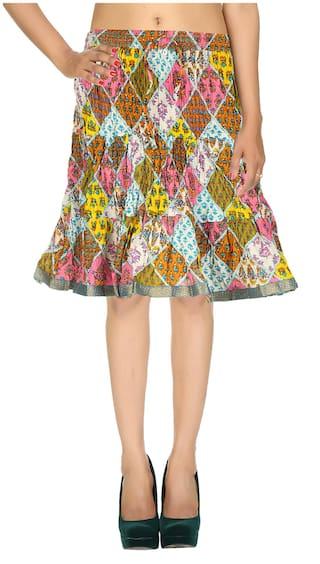 Rajrang Printed Skirt - White