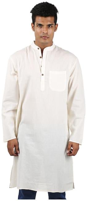Rajrang White Color Ethnic Wear Plain Cotton Kurta for Men