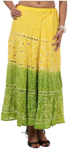 Rajrang Green Color Rajasthani Jaipuri Print Long Cotton Skirts for Girls & Women
