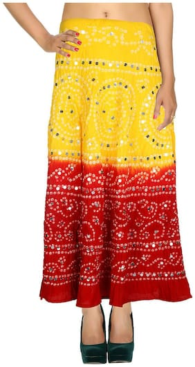 Rajrang Yellow & Cinnabar Red Ethnic Tie Dye Cotton Cambric Maxi Casual Skirt