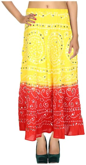 Rajrang Yellow & Red Ethnic Tie Dye Cotton Cambric Maxi Casual Skirt