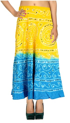 Rajrang Yellow Color Rajasthani Jaipuri Print Ankle Length Cotton Skirts for Girls & Women