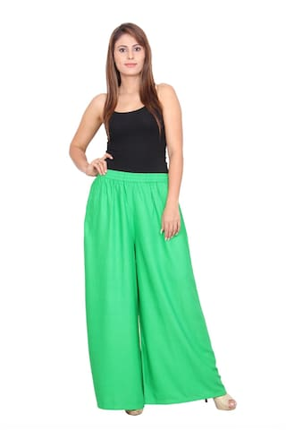 Rama Solid Green Colour Rayon Fabric Palazzo For Women