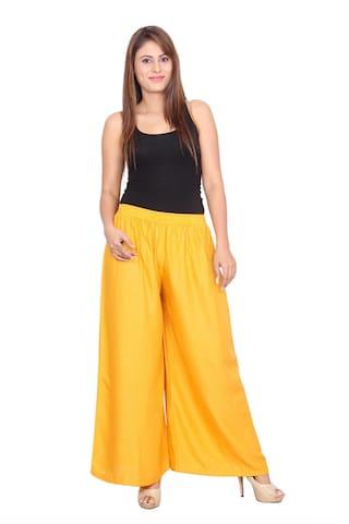 Rama Solid Yellow Colour Rayon Fabric Palazzo For Women