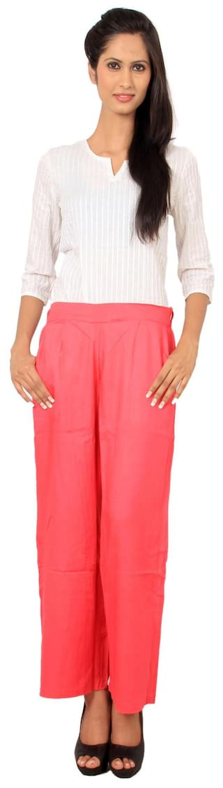 Women's Rama Pink Rayon Color Beautiful Stylish Plazzos Solid d6wqwfp