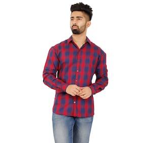 RAMDEV CRAFTS Men Slim Fit Casual shirt - Red
