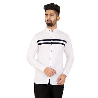 RAMDEV CRAFTS Men Slim Fit Casual shirt - White