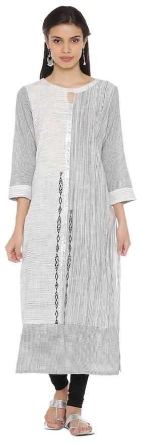 Rangmanch By Pantaloons Women Cotton Printed Straight Kurta - White