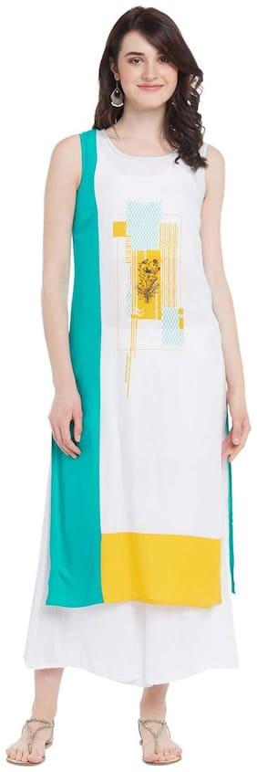 Rangmanch By Pantaloons Women Rayon Printed Straight Kurta - White