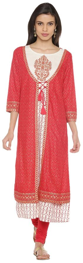 Rangmanch By Pantaloons Women Rayon Printed Straight Kurta - Red