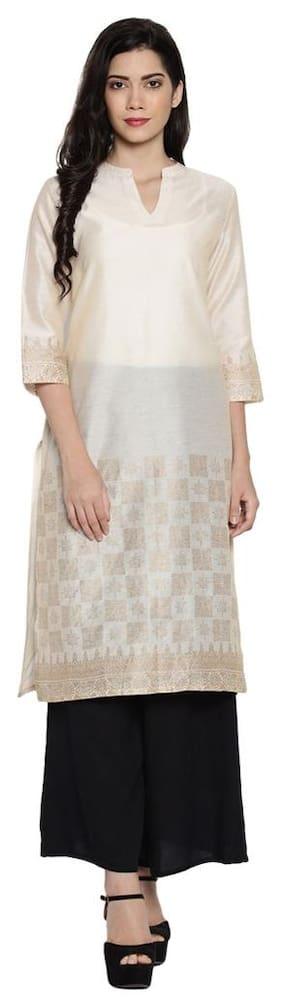 a29ece52bc5 Rangmanch By Pantaloons Women Cotton Printed Straight Kurta - White