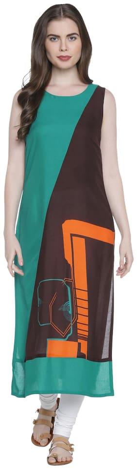Rangmanch By Pantaloons Women Rayon Printed Straight Kurta - Brown
