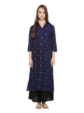 Rangmanch By Pantaloons Women Blended Printed Straight Kurta - Blue