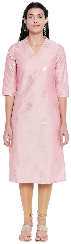 Rangmanch By Pantaloons Women Viscose Printed Straight Kurta - Pink