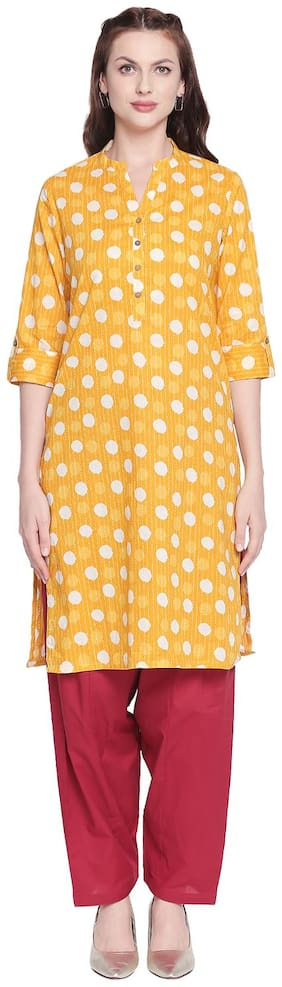 Women Polka Dots Straight Kurta