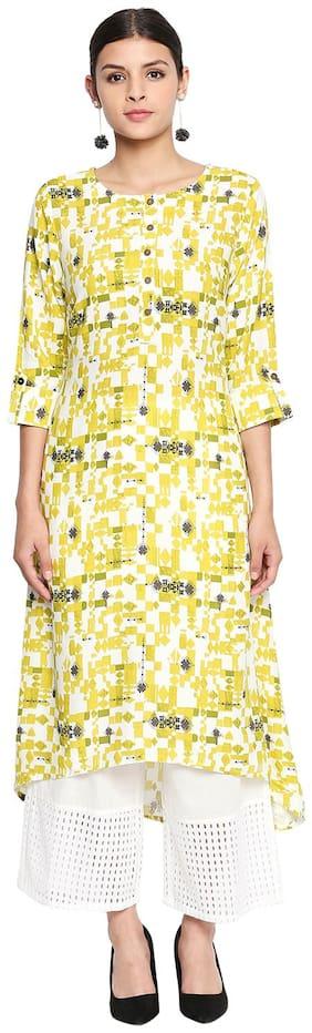 Rangmanch By Pantaloons Women Rayon Printed Straight Kurta - Green & White