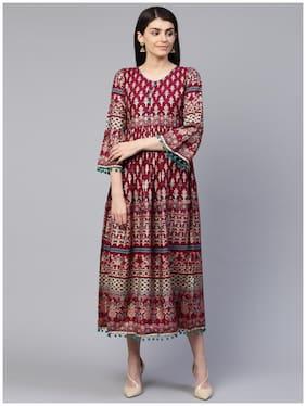 Rangmayee Women Wine & Gold Foil Printed Maxi Dress