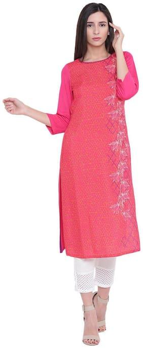 Rangriti Women Viscose Printed Straight Kurta - Pink