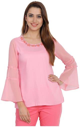 Rangriti Women Solid Regular top - Pink