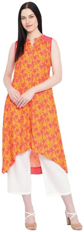 Rangriti Women Viscose Printed Straight Kurta - Orange