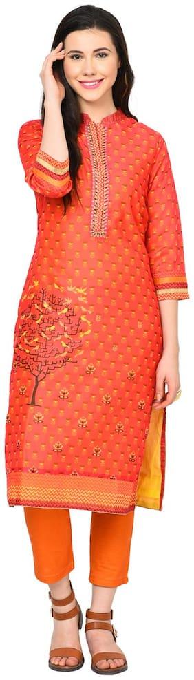 Rangriti Women Blended Printed Straight Kurta - Pink