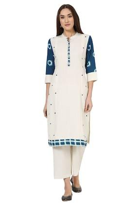 Rangriti Women Blended Solid Straight Kurta - White