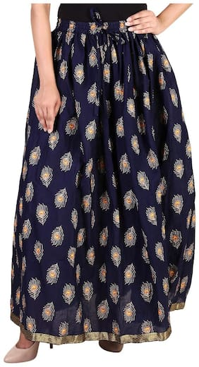 Rangsthali cottton Peacock Feather Gold printed straight long Skirt for women Navy blue Skirt ( free Size Skirts)