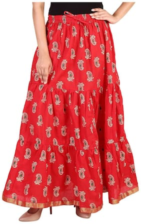 Rangsthali cottton Gold printed Tiered long Skirt for women Red skirt ( free Size Skirts)