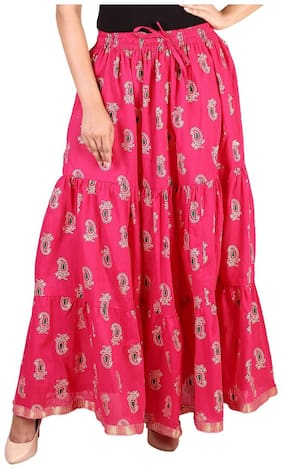 Rangsthali cottton Gold printed Tiered long Skirt for women Pink skirt ( free Size Skirts)