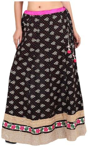 Rangsthali Solid A-line skirt Maxi Skirt - Black