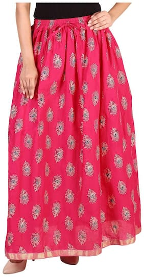 Rangsthali cottton Peacock Feather Gold printed straight long Skirt for women Pink Skirt ( free Size Skirts)