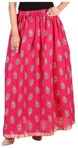 d508c14d80 Rangsthali cottton Peacock Feather Gold printed straight long Skirt for  women Pink Skirt ( free Size