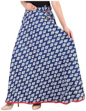 Rangsthali Printed A-line skirt Maxi Skirt - Blue